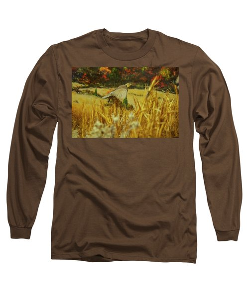 Long Sleeve T-Shirt featuring the digital art Bobwhite In Flight by Chris Flees