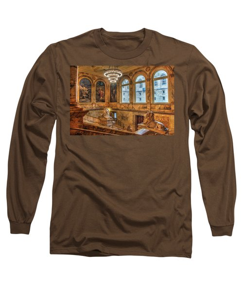 Long Sleeve T-Shirt featuring the photograph Boston Public Library Architecture by Joann Vitali