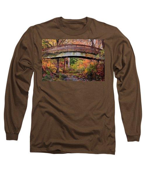 Botanical Gardens Arched Bridge Asheville During Fall Long Sleeve T-Shirt