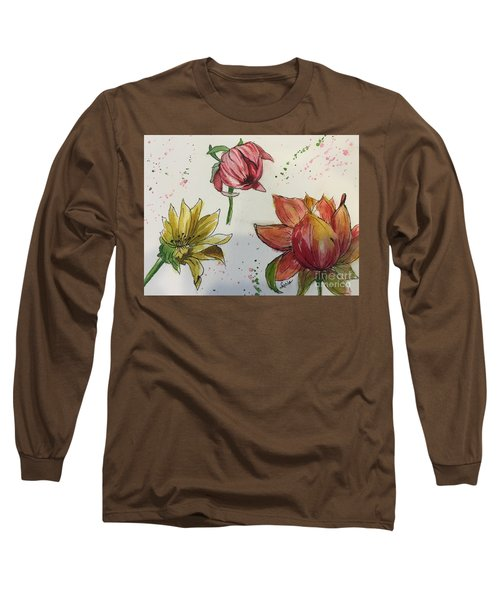 Long Sleeve T-Shirt featuring the painting Botanicals by Lucia Grilletto