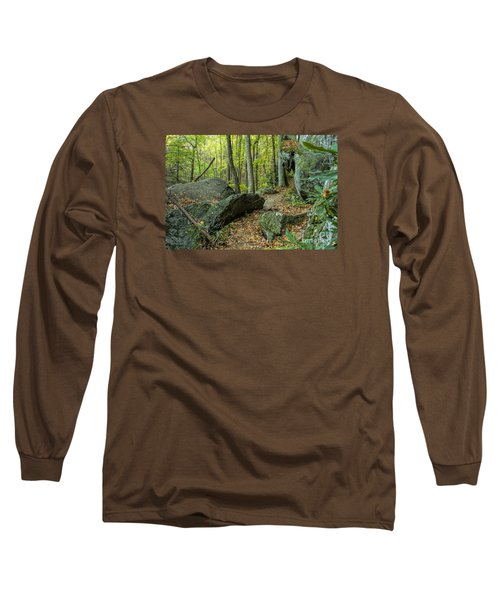 Boulders On The Bear Hair Gap Trail Long Sleeve T-Shirt by Barbara Bowen