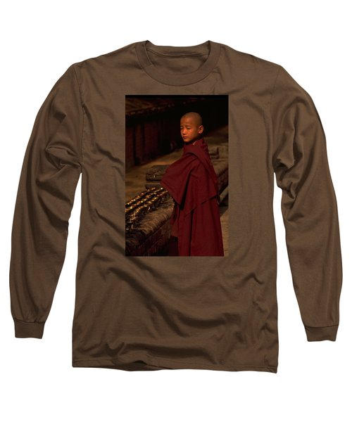 Long Sleeve T-Shirt featuring the photograph Boy Buddhist In Bodh Gaya by Travel Pics