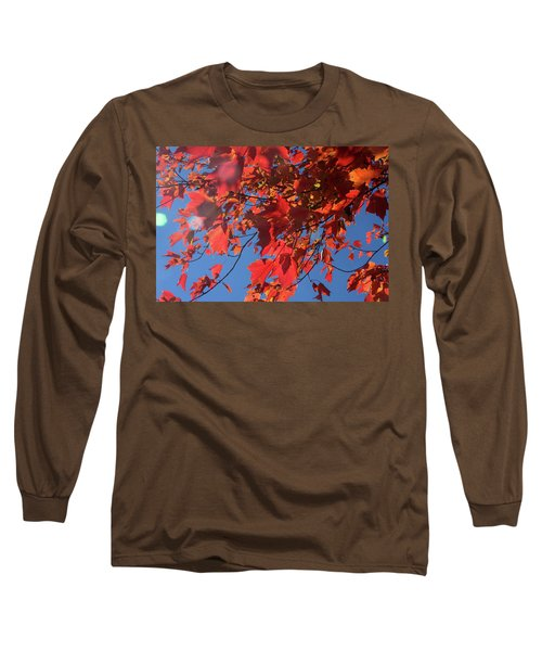 Branches Of Red Maple Leaves On Clear Sky Background Long Sleeve T-Shirt by Emanuel Tanjala