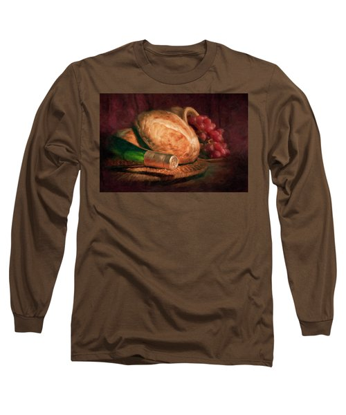 Bread And Wine Long Sleeve T-Shirt by Tom Mc Nemar