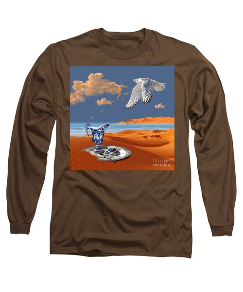Long Sleeve T-Shirt featuring the digital art Breakfast With White Falcon by Alexa Szlavics