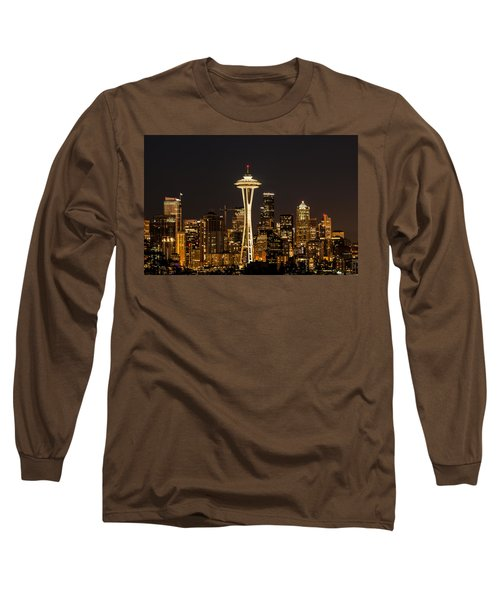 Long Sleeve T-Shirt featuring the photograph Bright At Night - Space Needle by E Faithe Lester