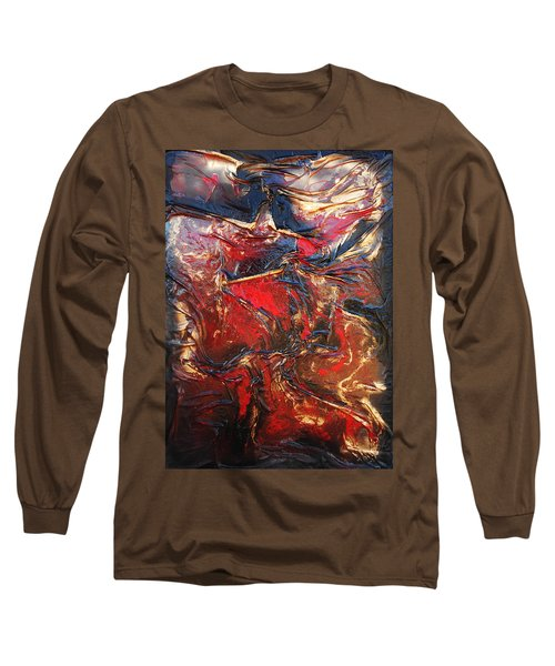 Brown, Red And Gold Long Sleeve T-Shirt