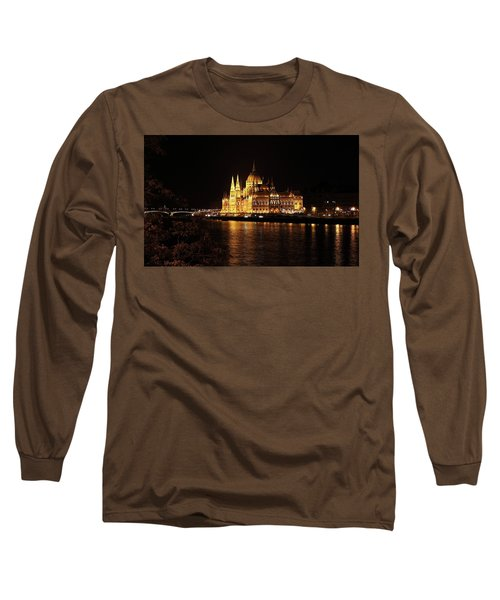 Long Sleeve T-Shirt featuring the digital art Budapest - Parliament by Pat Speirs