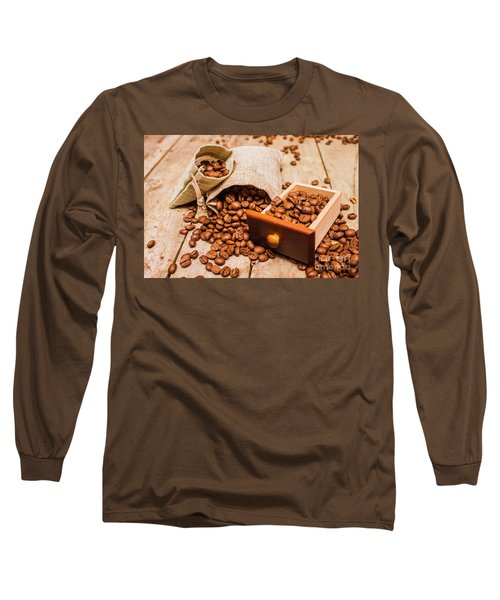 Burlap Bag Of Coffee Beans And Drawer Long Sleeve T-Shirt