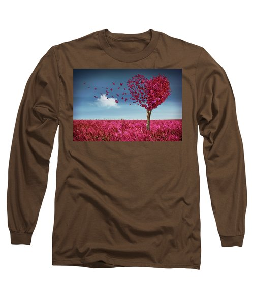 Butterfly Heart Tree Long Sleeve T-Shirt