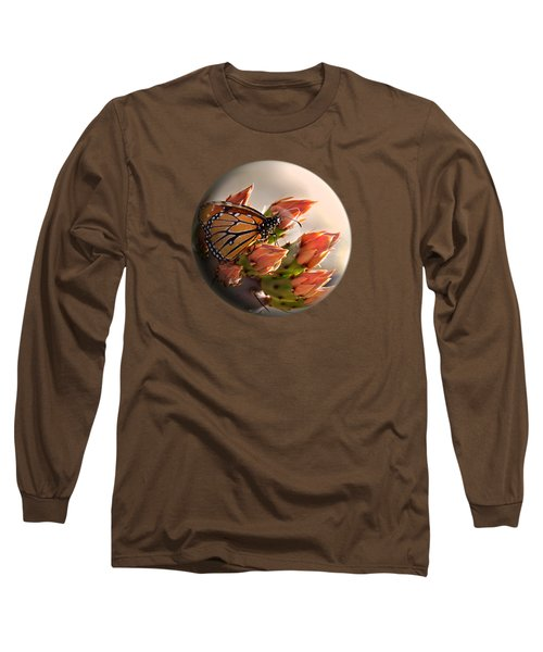 Butterfly In A Globe Long Sleeve T-Shirt by Phyllis Denton