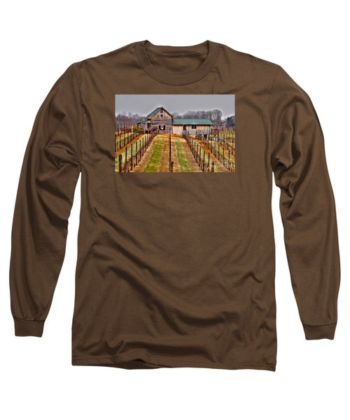 Cabin At Autumn Creek Vineyard Long Sleeve T-Shirt by Christy Ricafrente