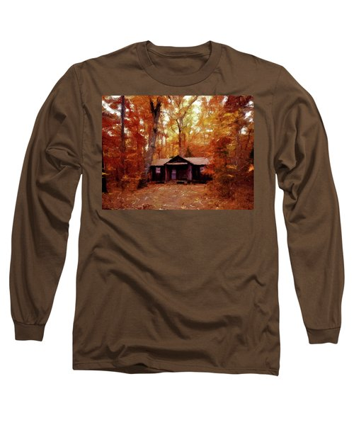 Long Sleeve T-Shirt featuring the painting Cabin In The Woods P D P by David Dehner