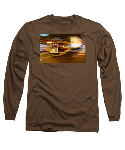 Cable Car At Light Speed Long Sleeve T-Shirt by Steve Siri