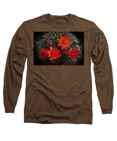 Cactus Red Flowers Long Sleeve T-Shirt by Catherine Lau