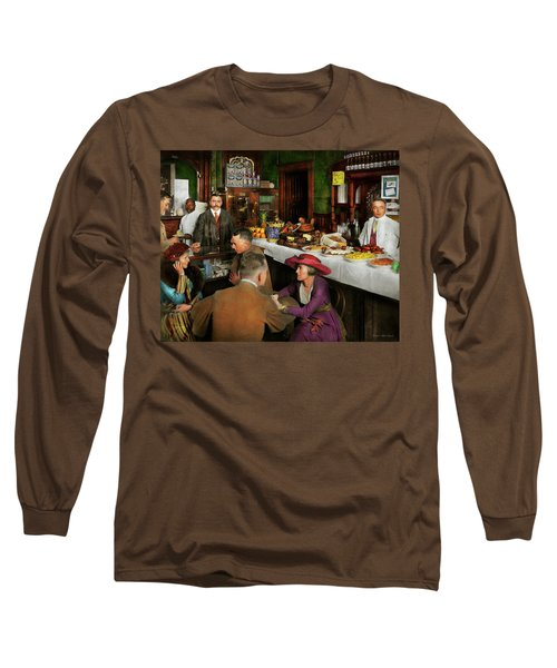 Long Sleeve T-Shirt featuring the photograph Cafe - Temptations 1915 by Mike Savad