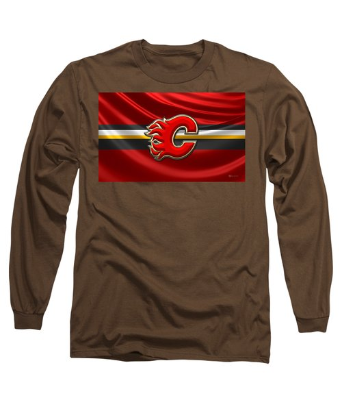 Calgary Flames - 3d Badge Over Flag Long Sleeve T-Shirt
