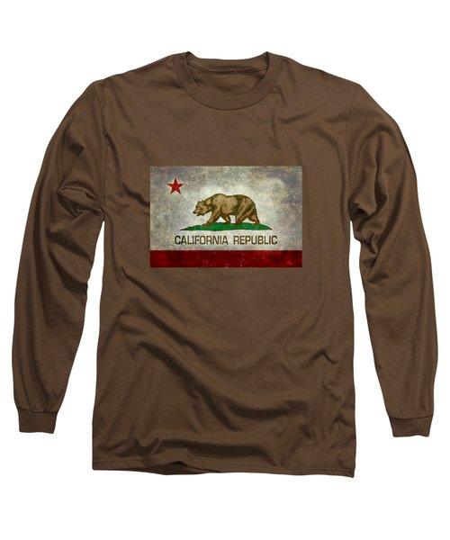 California Republic State Flag Retro Style Long Sleeve T-Shirt