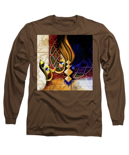 Long Sleeve T-Shirt featuring the painting Calligraphy 101 3 by Mawra Tahreem