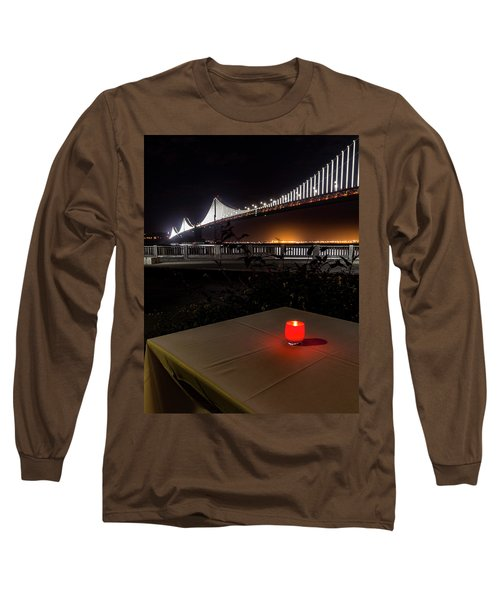 Long Sleeve T-Shirt featuring the photograph Candle Lit Table Under The Bridge by Darcy Michaelchuk