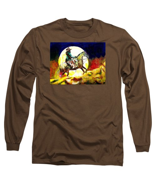 Long Sleeve T-Shirt featuring the painting Canyon Moon by Seth Weaver