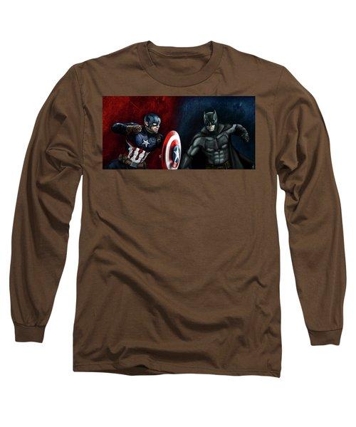 Captain America Vs Batman Long Sleeve T-Shirt by Vinny John Usuriello