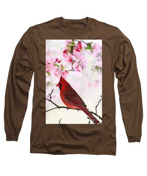 Cardinal Amid Spring Tree Blossoms Long Sleeve T-Shirt