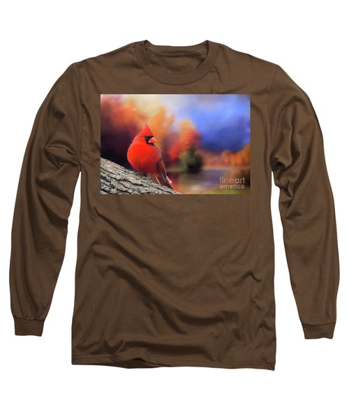 Cardinal In Autumn Long Sleeve T-Shirt by Janette Boyd