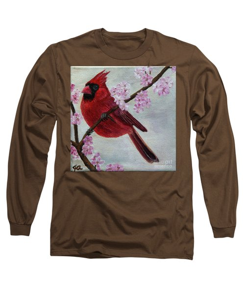 Cardinal In Cherry Blossoms Long Sleeve T-Shirt by Jane Axman