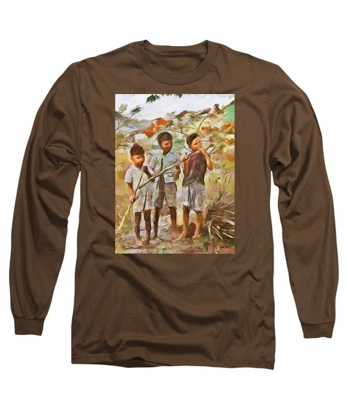 Long Sleeve T-Shirt featuring the painting Caribbean Scenes - Eating Sugarcane by Wayne Pascall