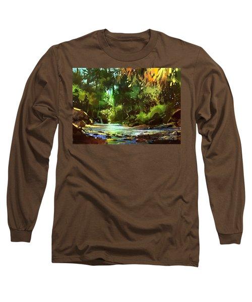 Cascades In Forest Long Sleeve T-Shirt