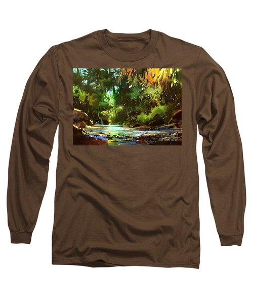 Cascades In Forest Long Sleeve T-Shirt