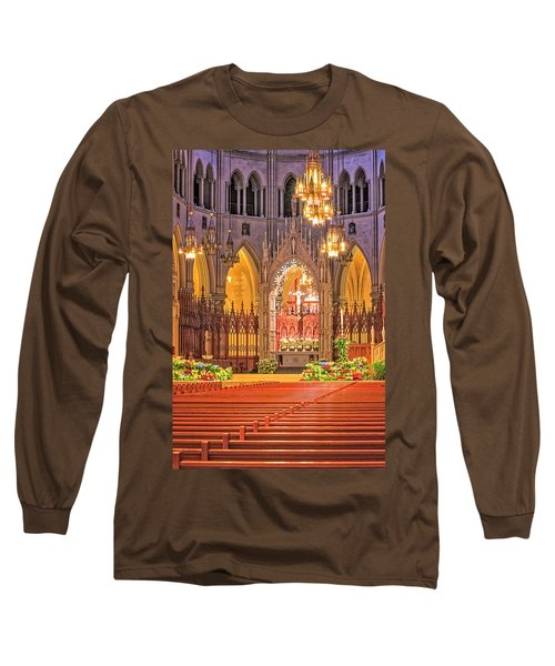 Long Sleeve T-Shirt featuring the photograph Cathedral Basilica Of The Sacred Heart Newark Nj by Susan Candelario