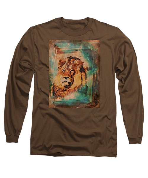 Long Sleeve T-Shirt featuring the digital art Cecil The Lion by Kathy Kelly