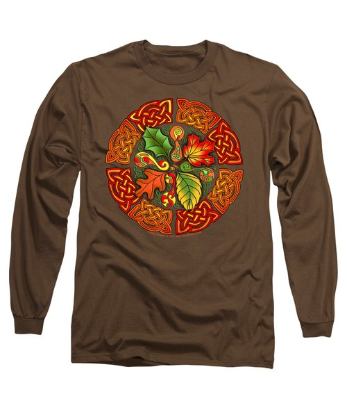 Long Sleeve T-Shirt featuring the mixed media Celtic Autumn Leaves by Kristen Fox