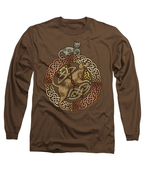 Celtic Cat And Dog Long Sleeve T-Shirt by Kristen Fox