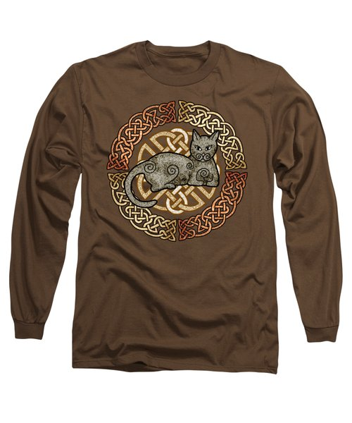Long Sleeve T-Shirt featuring the mixed media Celtic Cat by Kristen Fox