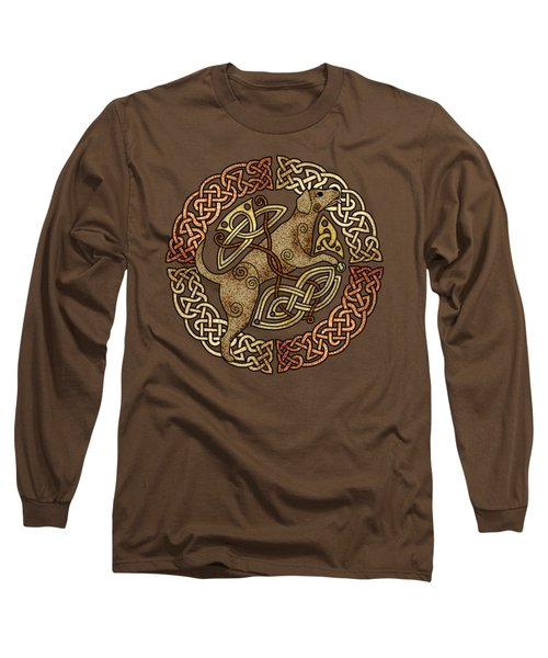 Long Sleeve T-Shirt featuring the mixed media Celtic Dog by Kristen Fox