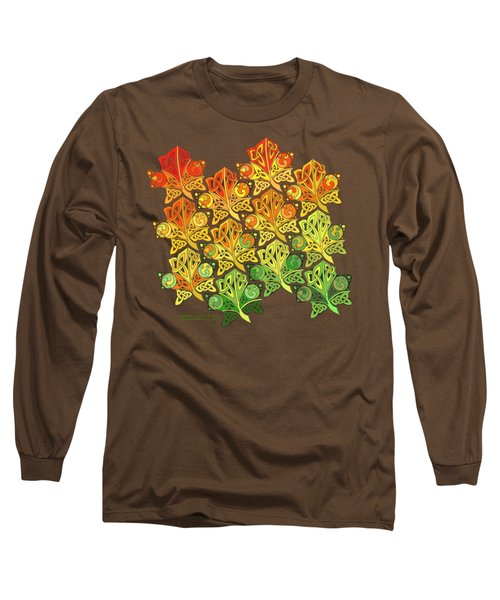 Long Sleeve T-Shirt featuring the mixed media Celtic Leaf Transformation by Kristen Fox