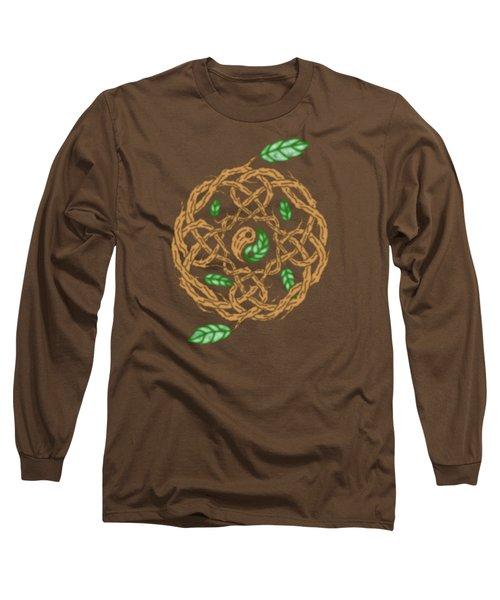 Celtic Nature Yin Yang Long Sleeve T-Shirt by Kristen Fox