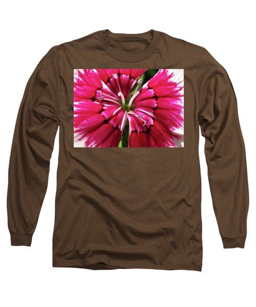 Center Of A Sweet William Long Sleeve T-Shirt by Mary Ellen Frazee