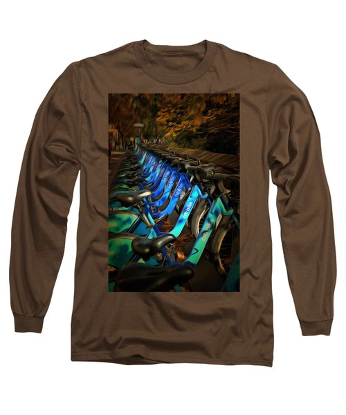 Long Sleeve T-Shirt featuring the mixed media Central Park Bikes by Trish Tritz