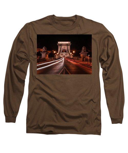 Chain Bridge At Midnight Long Sleeve T-Shirt by Jaroslaw Blaminsky