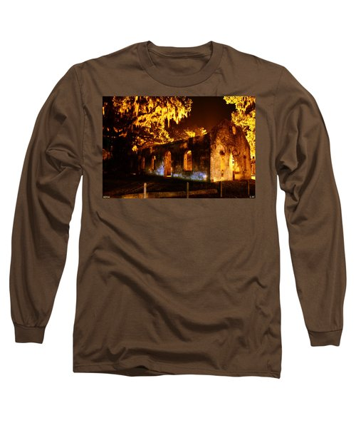 Chapel Of Ease St. Helena Island At Night Long Sleeve T-Shirt