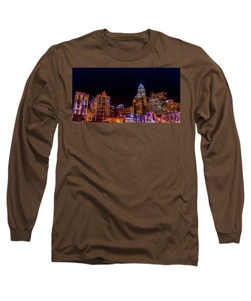 Charlotte Skyline At Night Long Sleeve T-Shirt