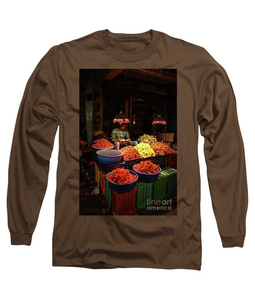 Long Sleeve T-Shirt featuring the photograph Cheannai Flower Market Colors by Mike Reid