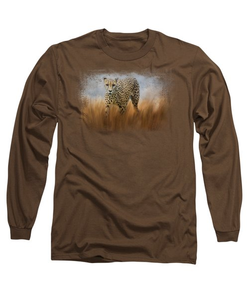 Cheetah In The Field Long Sleeve T-Shirt by Jai Johnson