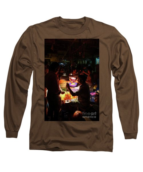 Long Sleeve T-Shirt featuring the photograph Chennai Flower Market Transaction by Mike Reid