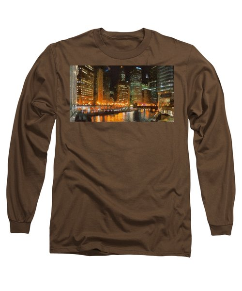 Chicago At Night Long Sleeve T-Shirt by Jeff Kolker