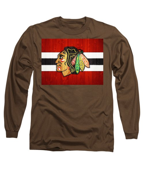 Chicago Blackhawks Barn Door Long Sleeve T-Shirt